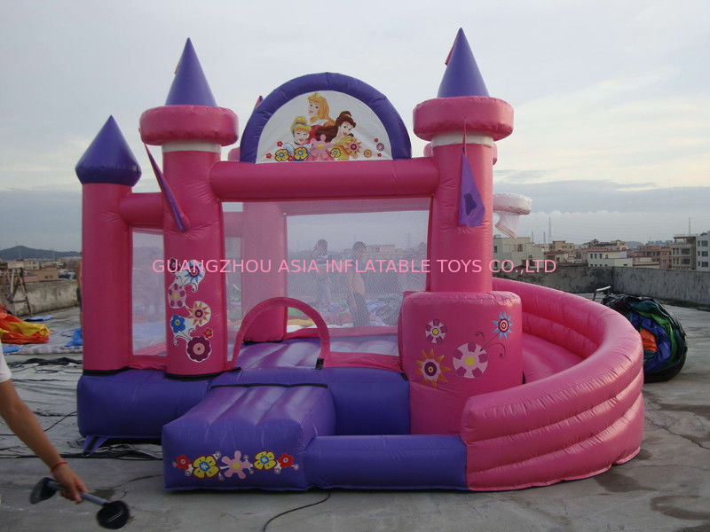 Rosa aufblasbarer Vergnügungspark mit Miniprinzessin Bouncer Castle With Slide fournisseur