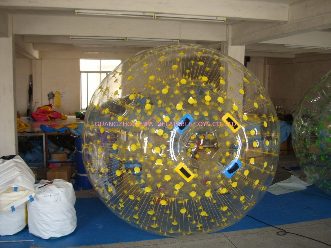 Yellow Dots Zorb Ball Sport of Rolling Down A Hill
